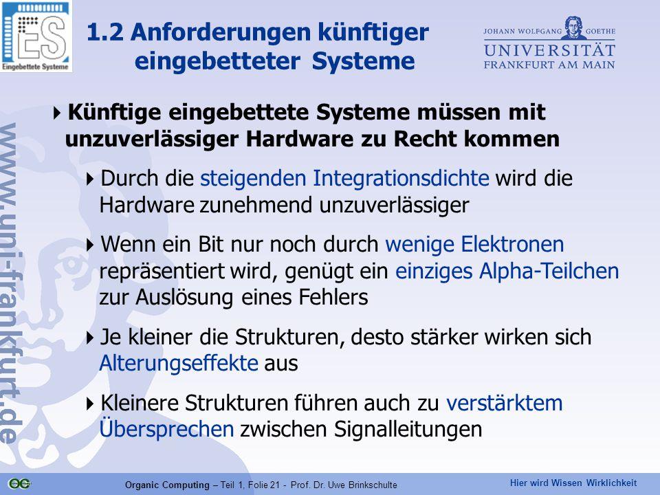Hier wird Wissen Wirklichkeit Organic Computing – Teil 1, Folie 21 - Prof. Dr. Uwe Brinkschulte  Künftige eingebettete Systeme müssen mit unzuverläss