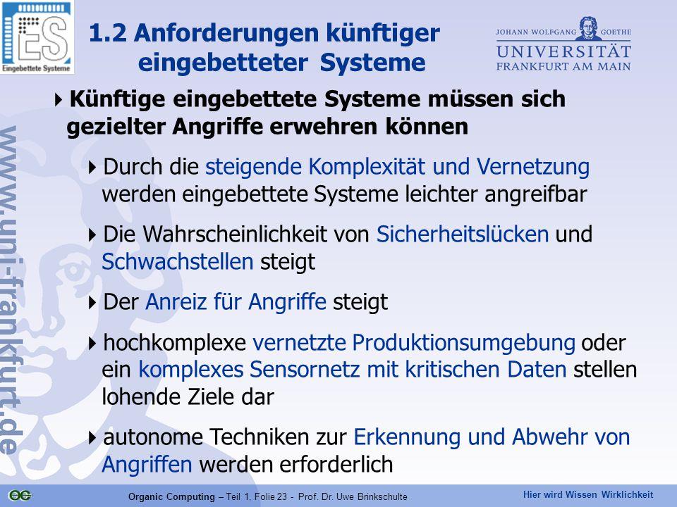 Hier wird Wissen Wirklichkeit Organic Computing – Teil 1, Folie 23 - Prof. Dr. Uwe Brinkschulte  Künftige eingebettete Systeme müssen sich gezielter