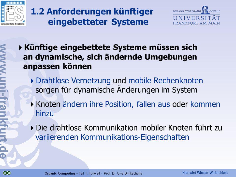 Hier wird Wissen Wirklichkeit Organic Computing – Teil 1, Folie 24 - Prof. Dr. Uwe Brinkschulte  Künftige eingebettete Systeme müssen sich an dynamis