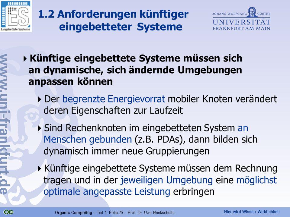 Hier wird Wissen Wirklichkeit Organic Computing – Teil 1, Folie 25 - Prof. Dr. Uwe Brinkschulte  Künftige eingebettete Systeme müssen sich an dynamis