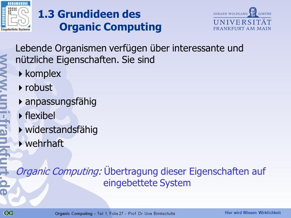 Hier wird Wissen Wirklichkeit Organic Computing – Teil 1, Folie 27 - Prof. Dr. Uwe Brinkschulte Lebende Organismen verfügen über interessante und nütz