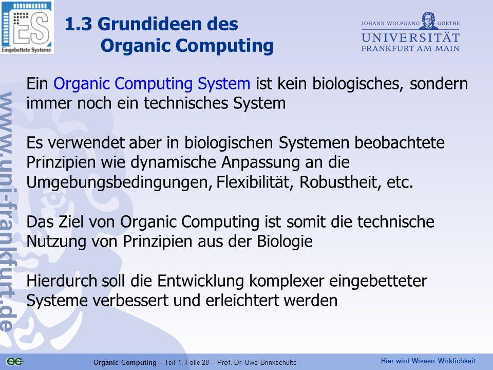 Hier wird Wissen Wirklichkeit Organic Computing – Teil 1, Folie 28 - Prof. Dr. Uwe Brinkschulte Ein Organic Computing System ist kein biologisches, so