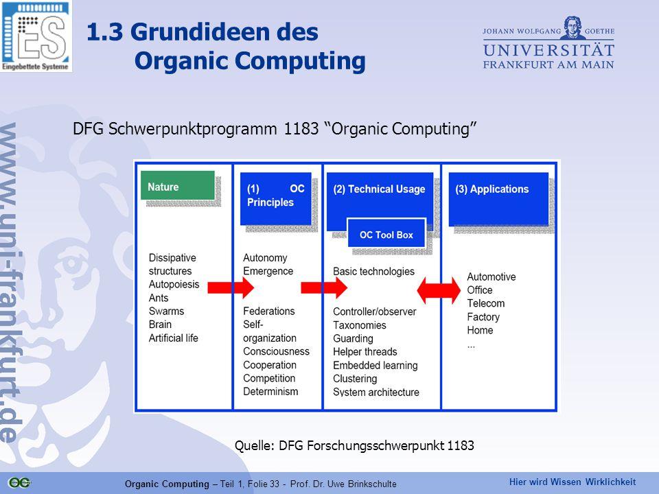 """Hier wird Wissen Wirklichkeit Organic Computing – Teil 1, Folie 33 - Prof. Dr. Uwe Brinkschulte DFG Schwerpunktprogramm 1183 """"Organic Computing"""" Quell"""