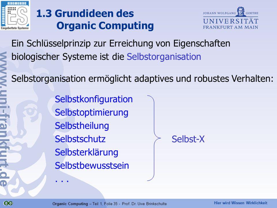 Hier wird Wissen Wirklichkeit Organic Computing – Teil 1, Folie 35 - Prof. Dr. Uwe Brinkschulte 1.3 Grundideen des Organic Computing Ein Schlüsselprin