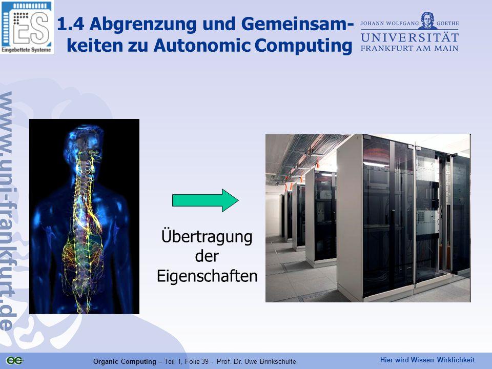 Hier wird Wissen Wirklichkeit Organic Computing – Teil 1, Folie 39 - Prof. Dr. Uwe Brinkschulte 1.4 Abgrenzung und Gemeinsam- keiten zu Autonomic Comp