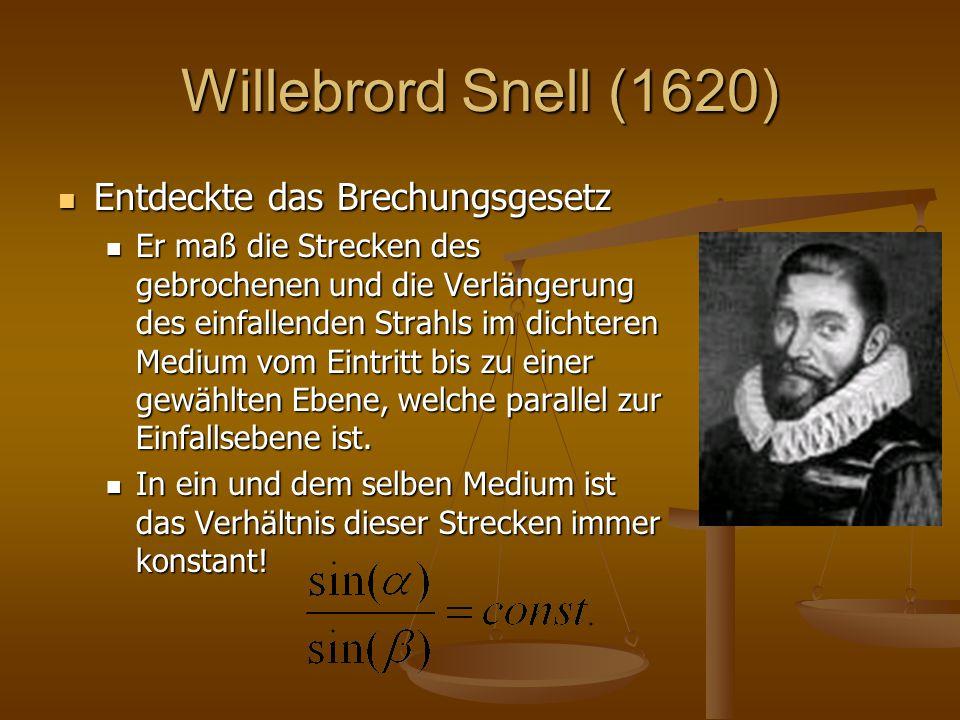 Willebrord Snell (1620) Entdeckte das Brechungsgesetz Entdeckte das Brechungsgesetz Er maß die Strecken des gebrochenen und die Verlängerung des einfa