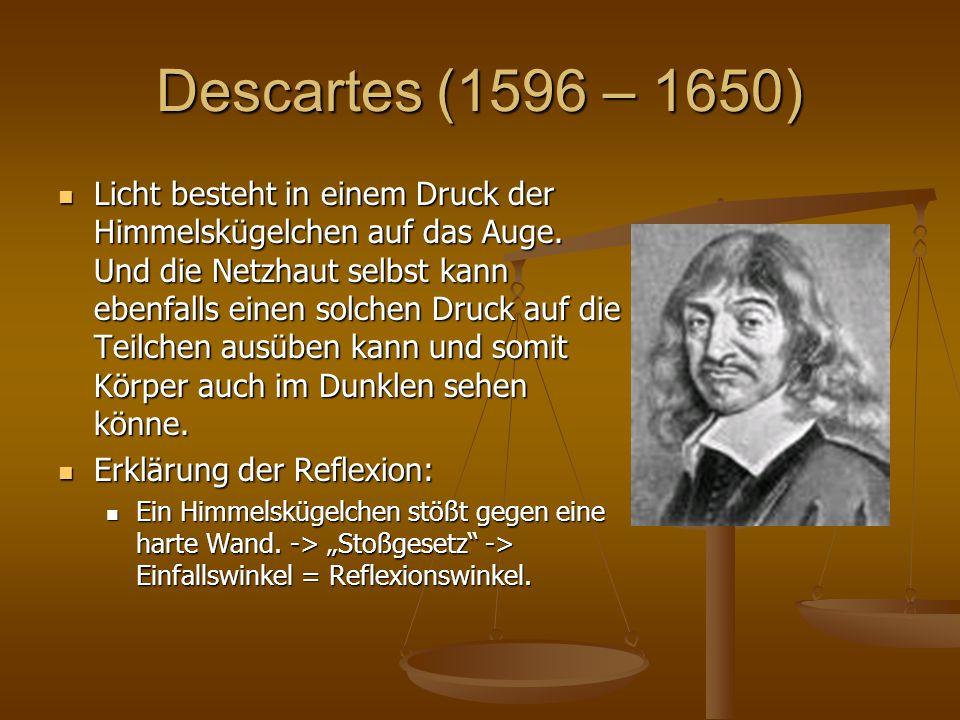 Descartes (1596 – 1650) Licht besteht in einem Druck der Himmelskügelchen auf das Auge. Und die Netzhaut selbst kann ebenfalls einen solchen Druck auf