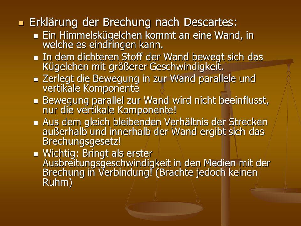 Erklärung der Brechung nach Descartes: Erklärung der Brechung nach Descartes: Ein Himmelskügelchen kommt an eine Wand, in welche es eindringen kann. E