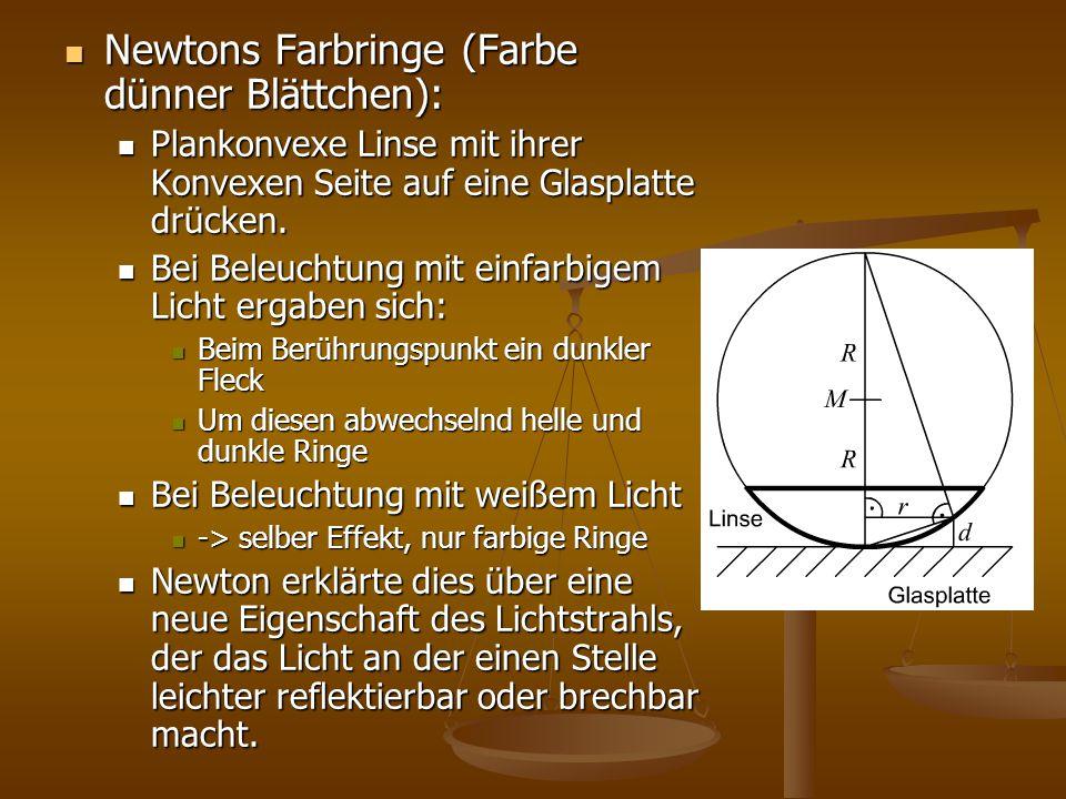 Newtons Farbringe (Farbe dünner Blättchen): Newtons Farbringe (Farbe dünner Blättchen): Plankonvexe Linse mit ihrer Konvexen Seite auf eine Glasplatte