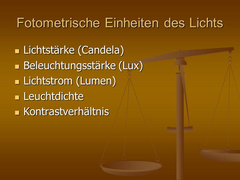 Fotometrische Einheiten des Lichts Lichtstärke (Candela) Lichtstärke (Candela) Beleuchtungsstärke (Lux) Beleuchtungsstärke (Lux) Lichtstrom (Lumen) Li