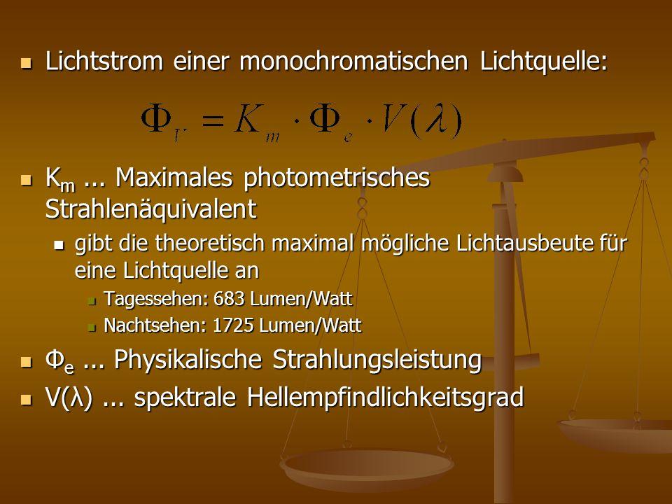 Lichtstrom einer monochromatischen Lichtquelle: Lichtstrom einer monochromatischen Lichtquelle: K m... Maximales photometrisches Strahlenäquivalent gi