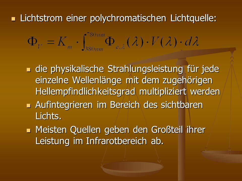 Lichtstrom einer polychromatischen Lichtquelle: Lichtstrom einer polychromatischen Lichtquelle: die physikalische Strahlungsleistung für jede einzelne