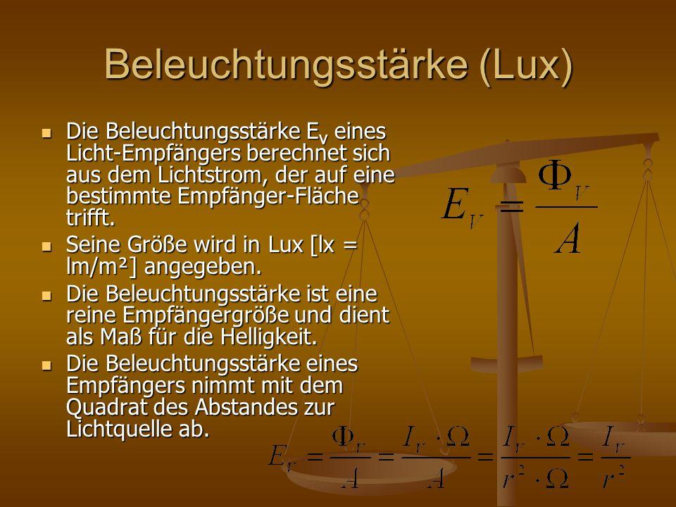 Beleuchtungsstärke (Lux) Die Beleuchtungsstärke E v eines Licht-Empfängers berechnet sich aus dem Lichtstrom, der auf eine bestimmte Empfänger-Fläche