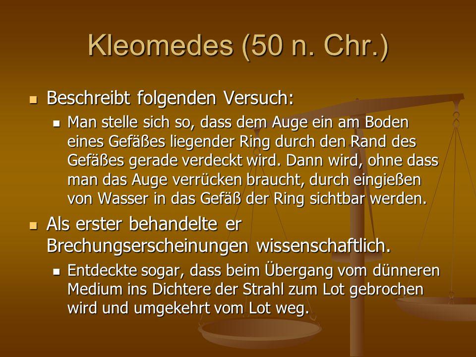 Kleomedes (50 n. Chr.) Beschreibt folgenden Versuch: Beschreibt folgenden Versuch: Man stelle sich so, dass dem Auge ein am Boden eines Gefäßes liegen