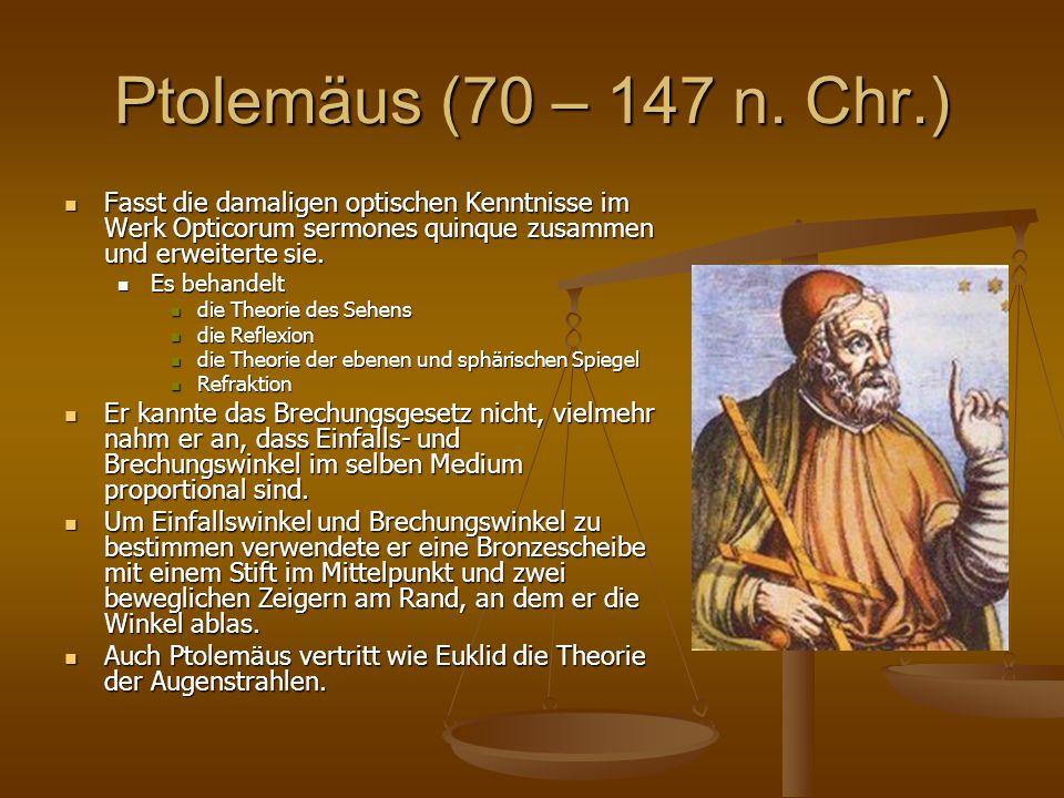Ptolemäus (70 – 147 n. Chr.) Fasst die damaligen optischen Kenntnisse im Werk Opticorum sermones quinque zusammen und erweiterte sie. Fasst die damali