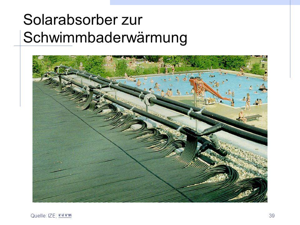 39 Solarabsorber zur Schwimmbaderwärmung Quelle: IZE; a d a m