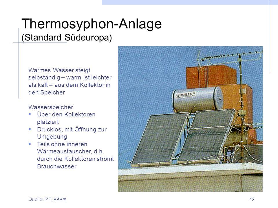 42 Thermosyphon-Anlage (Standard Südeuropa) Warmes Wasser steigt selbständig – warm ist leichter als kalt – aus dem Kollektor in den Speicher Wassersp