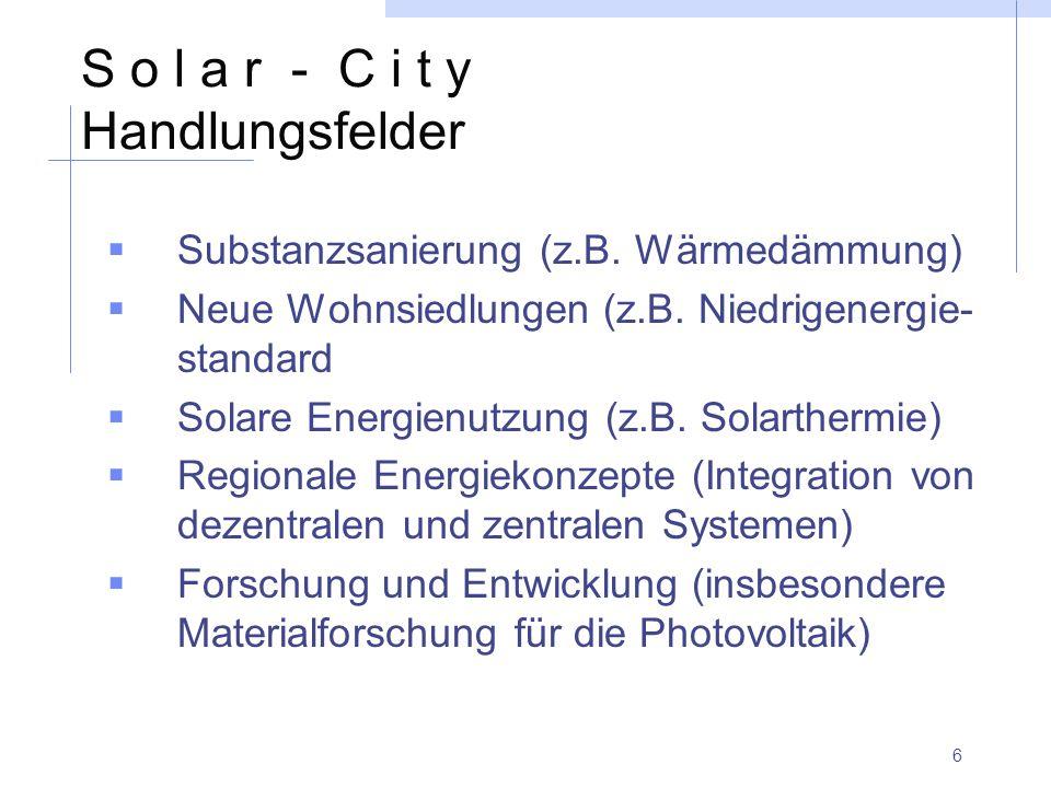 6 S o l a r - C i t y Handlungsfelder  Substanzsanierung (z.B. Wärmedämmung)  Neue Wohnsiedlungen (z.B. Niedrigenergie- standard  Solare Energienut