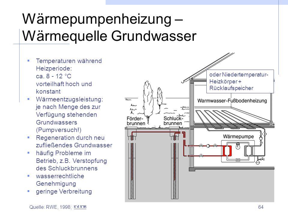 64 Wärmepumpenheizung – Wärmequelle Grundwasser  Temperaturen während Heizperiode: ca. 8 - 12 °C vorteilhaft hoch und konstant  Wärmeentzugsleistung