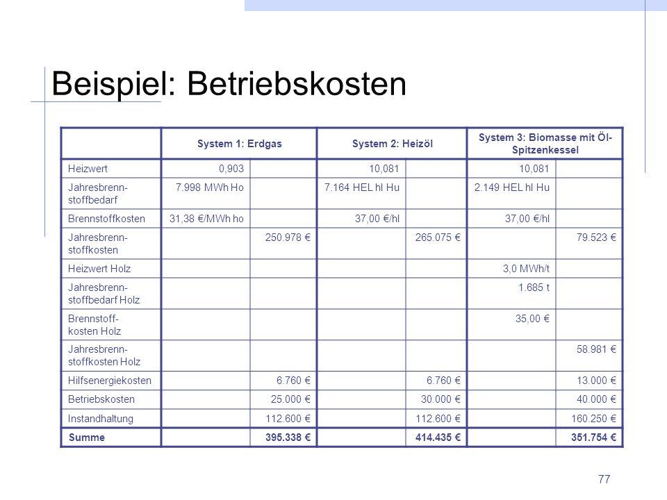 77 Beispiel: Betriebskosten System 1: ErdgasSystem 2: Heizöl System 3: Biomasse mit Öl- Spitzenkessel Heizwert0,90310,081 Jahresbrenn- stoffbedarf 7.9