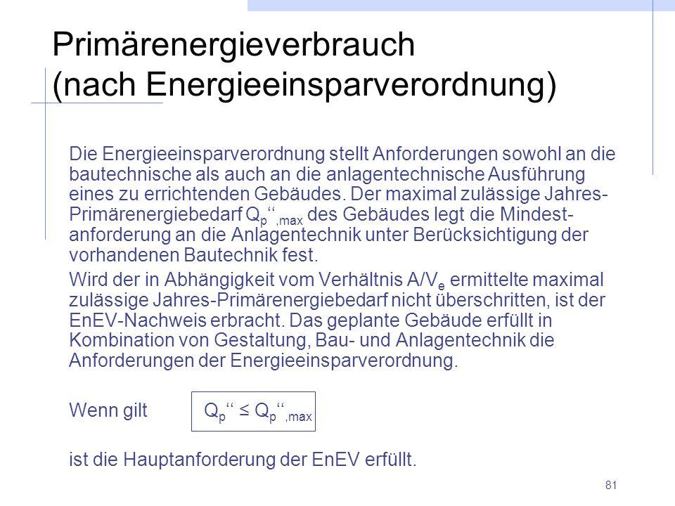 81 Primärenergieverbrauch (nach Energieeinsparverordnung) Die Energieeinsparverordnung stellt Anforderungen sowohl an die bautechnische als auch an di
