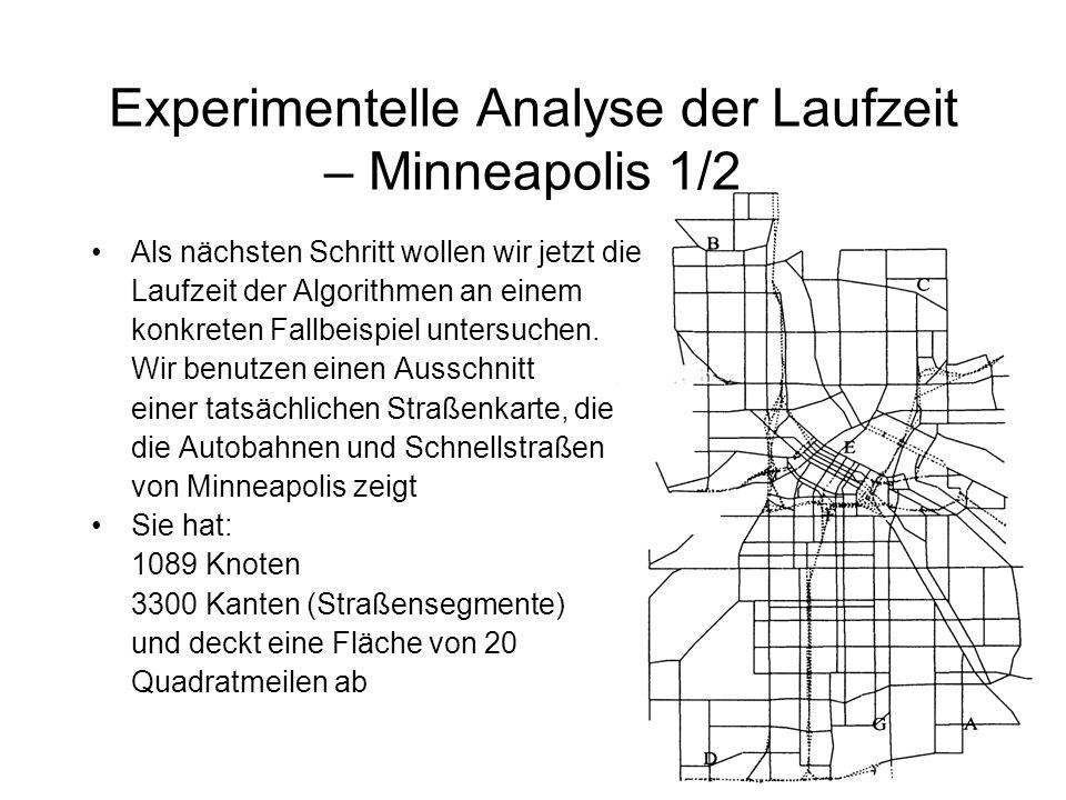 Experimentelle Analyse der Laufzeit – Minneapolis 1/2 Als nächsten Schritt wollen wir jetzt die Laufzeit der Algorithmen an einem konkreten Fallbeispiel untersuchen.