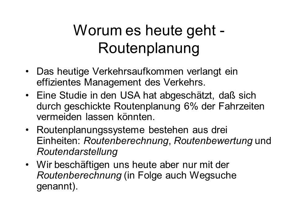 Worum es heute geht - Routenplanung Das heutige Verkehrsaufkommen verlangt ein effizientes Management des Verkehrs.