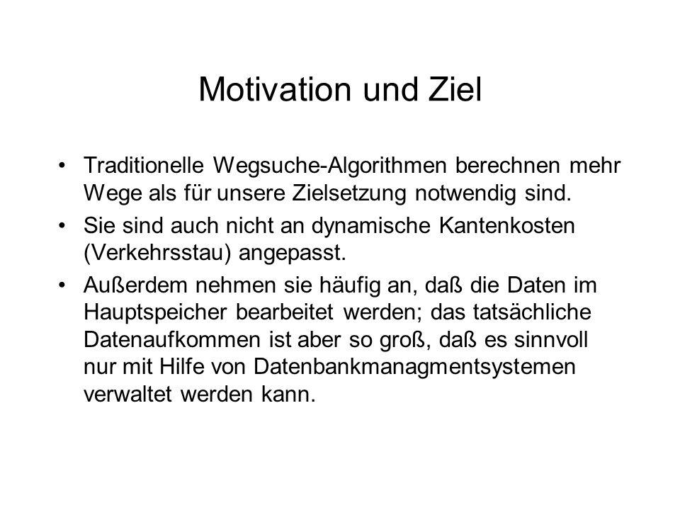 Motivation und Ziel Traditionelle Wegsuche-Algorithmen berechnen mehr Wege als für unsere Zielsetzung notwendig sind. Sie sind auch nicht an dynamisch