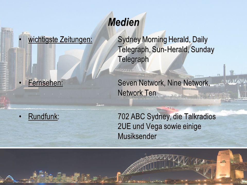 Medien wichtigste Zeitungen: Sydney Morning Herald, Daily Telegraph, Sun-Herald, Sunday Telegraphwichtigste Zeitungen: Sydney Morning Herald, Daily Te