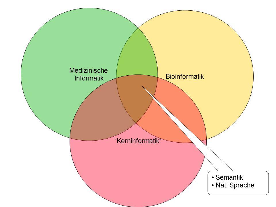 """Bioinformatik Medizinische Informatik """"Kerninformatik"""" Semantik Nat. Sprache"""