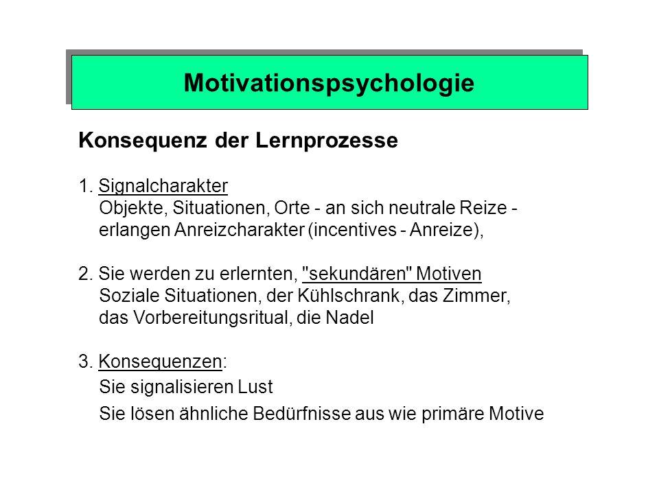 Verstärkungssystem (erfolgreiche Verhaltensweisen werden belohnt oder verstärkt - Auftrittswahrscheinlichkeit) Motivationspsychologie Triebsystem Belo