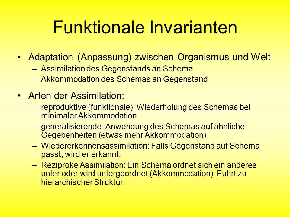 Funktionale Invarianten Adaptation (Anpassung) zwischen Organismus und Welt –Assimilation des Gegenstands an Schema –Akkommodation des Schemas an Gege
