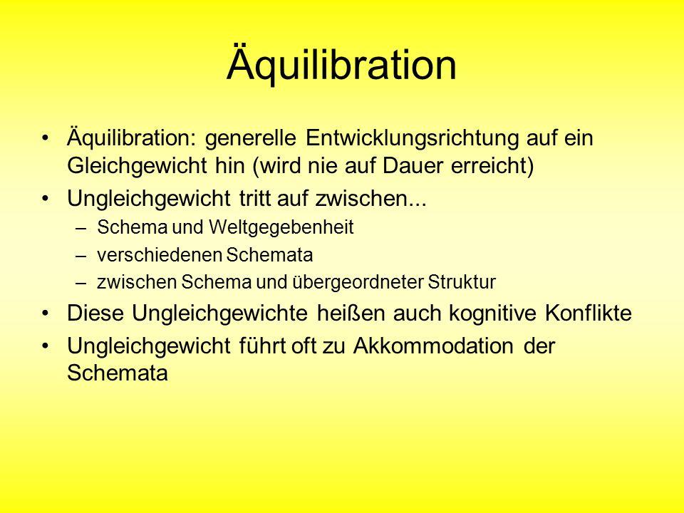 Äquilibration Äquilibration: generelle Entwicklungsrichtung auf ein Gleichgewicht hin (wird nie auf Dauer erreicht) Ungleichgewicht tritt auf zwischen