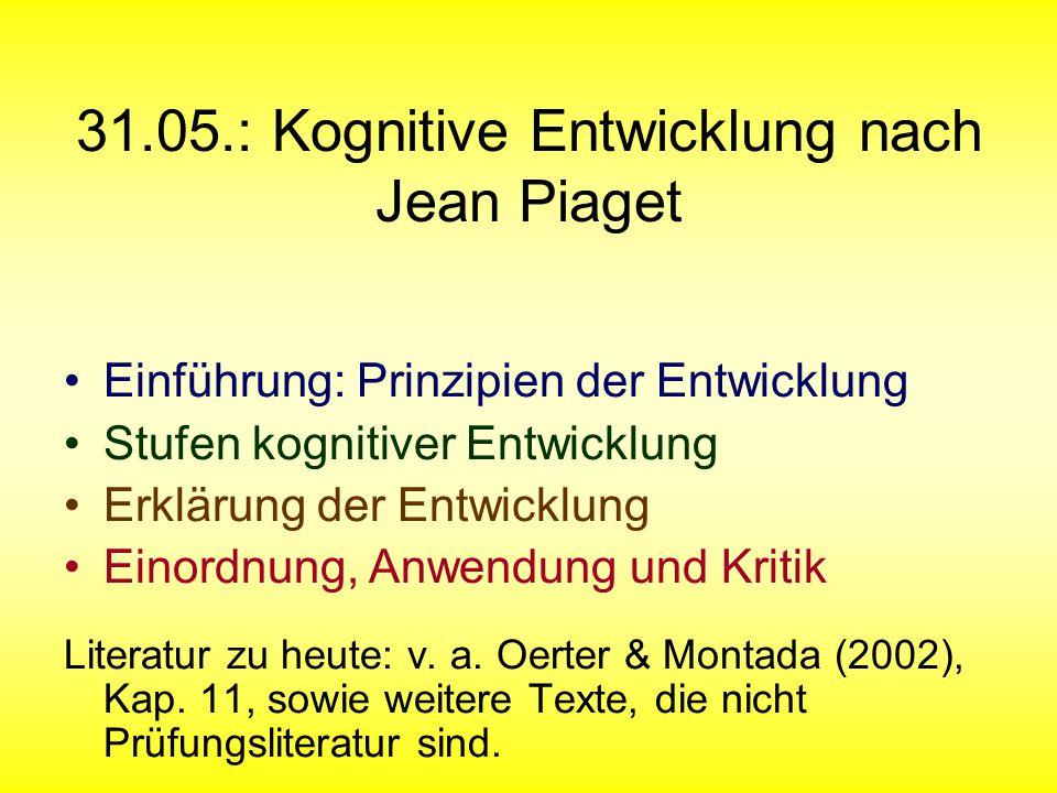 31.05.: Kognitive Entwicklung nach Jean Piaget Einführung: Prinzipien der Entwicklung Stufen kognitiver Entwicklung Erklärung der Entwicklung Einordnu
