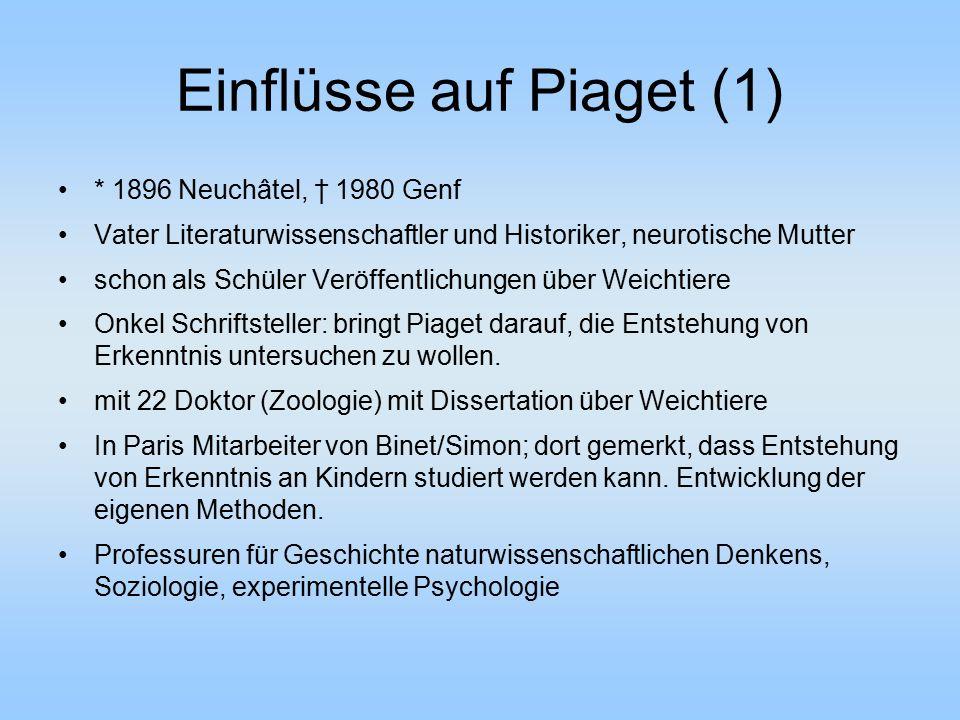 Einflüsse auf Piaget (1) * 1896 Neuchâtel, † 1980 Genf Vater Literaturwissenschaftler und Historiker, neurotische Mutter schon als Schüler Veröffentli