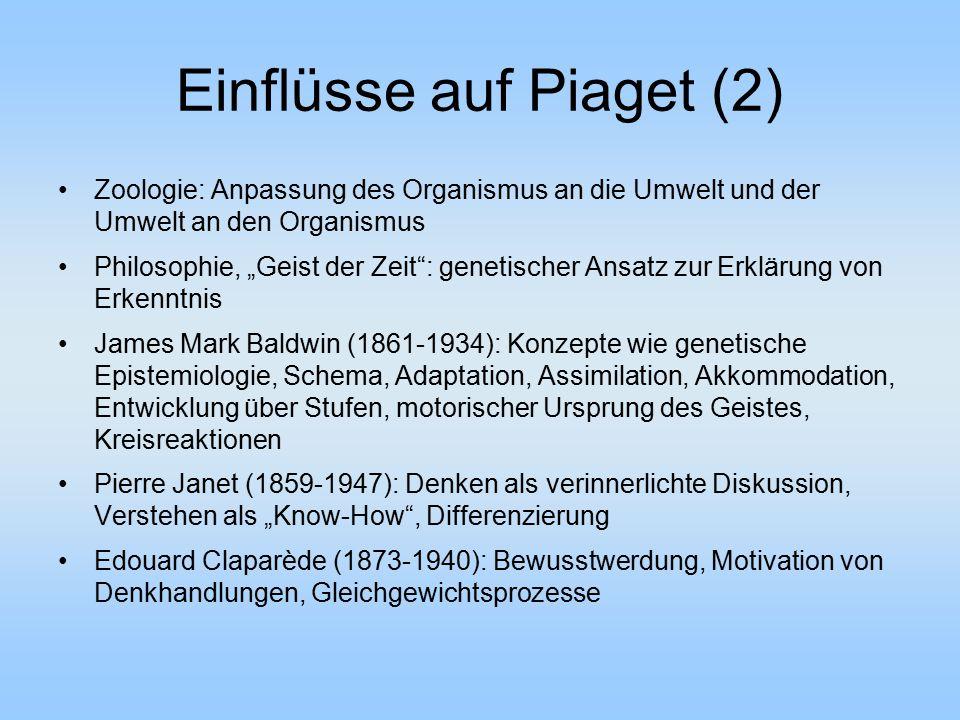 """Einflüsse auf Piaget (2) Zoologie: Anpassung des Organismus an die Umwelt und der Umwelt an den Organismus Philosophie, """"Geist der Zeit"""": genetischer"""