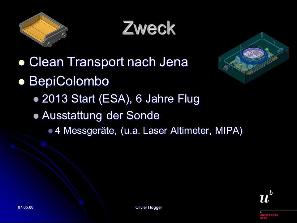 07.05.08Olivier Högger Zweck Clean Transport nach Jena Clean Transport nach Jena BepiColombo BepiColombo 2013 Start (ESA), 6 Jahre Flug 2013 Start (ES