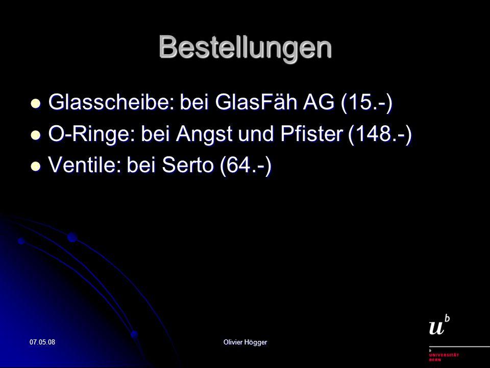 07.05.08Olivier Högger Bestellungen Glasscheibe: bei GlasFäh AG (15.-) Glasscheibe: bei GlasFäh AG (15.-) O-Ringe: bei Angst und Pfister (148.-) O-Rin