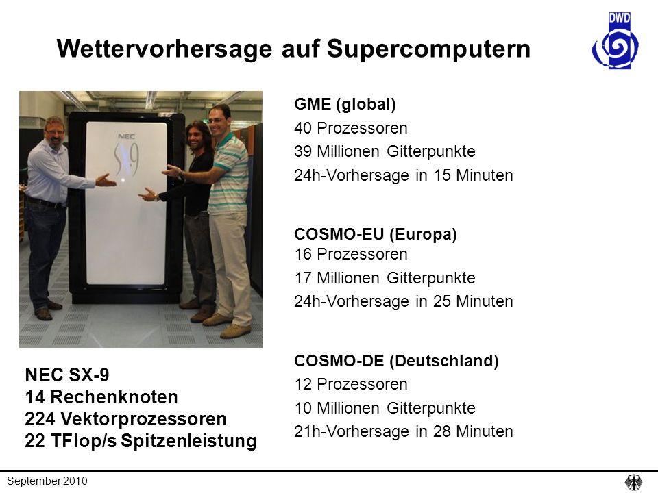 Wettervorhersage auf Supercomputern NEC SX-9 14 Rechenknoten 224 Vektorprozessoren 22 TFlop/s Spitzenleistung GME (global) 40 Prozessoren 39 Millionen