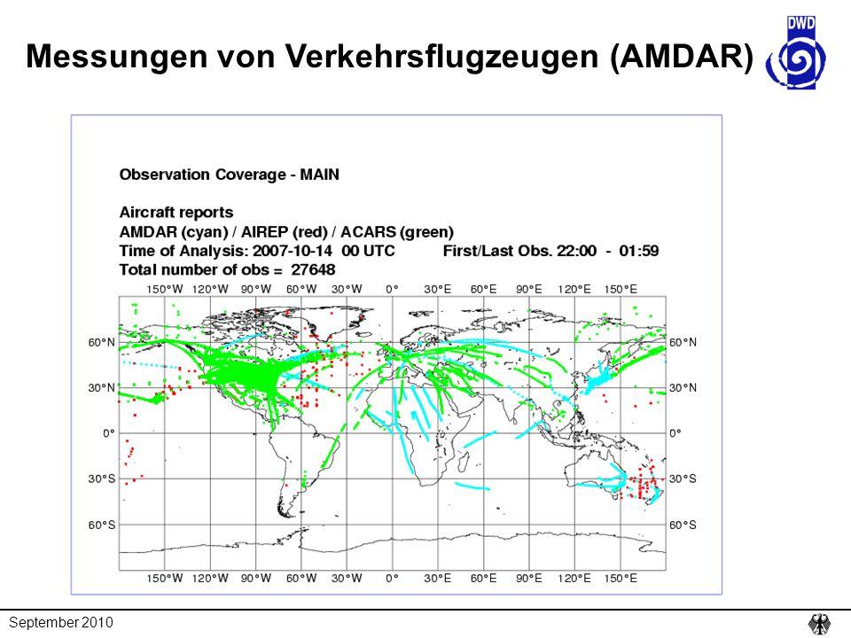September 2010 Messungen von Verkehrsflugzeugen (AMDAR)