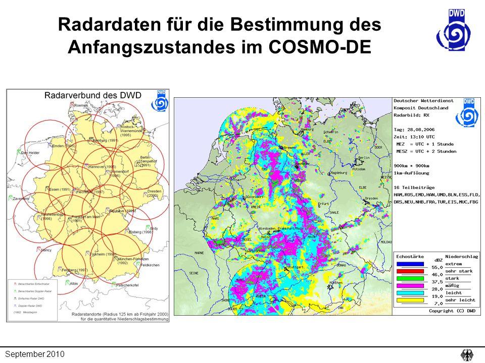 September 2010 Radardaten für die Bestimmung des Anfangszustandes im COSMO-DE