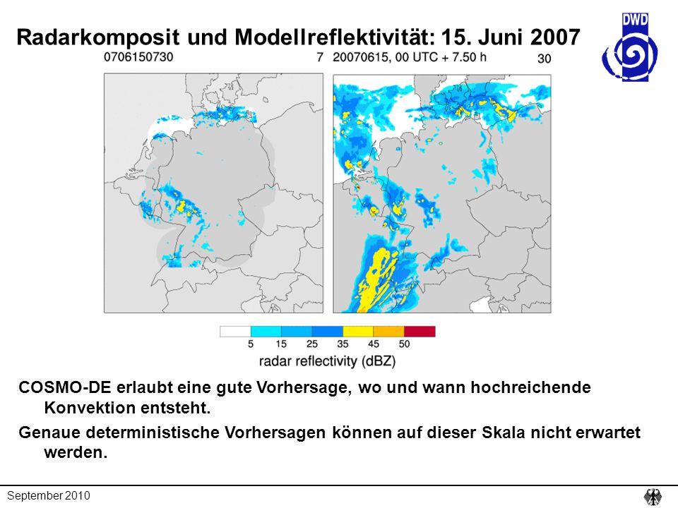 September 2010 BlaBla Radarkomposit und Modellreflektivität: 15. Juni 2007 COSMO-DE erlaubt eine gute Vorhersage, wo und wann hochreichende Konvektion