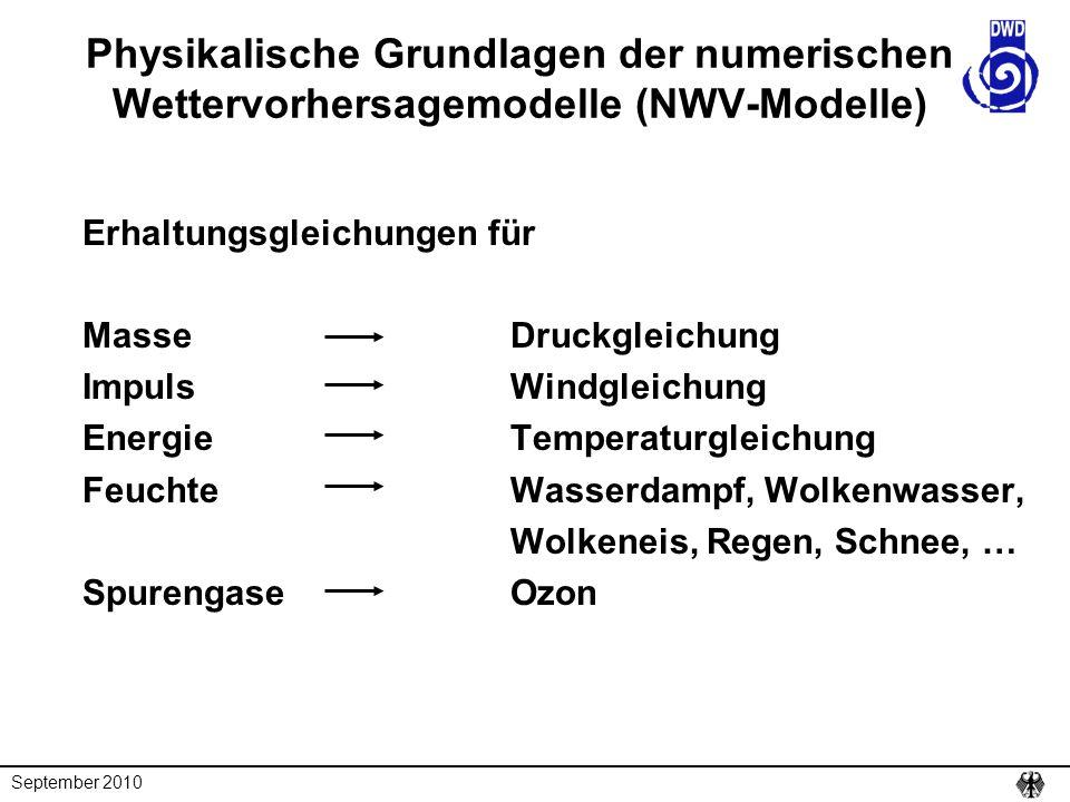 September 2010 Physikalische Grundlagen der numerischen Wettervorhersagemodelle (NWV-Modelle) Erhaltungsgleichungen für MasseDruckgleichung ImpulsWind