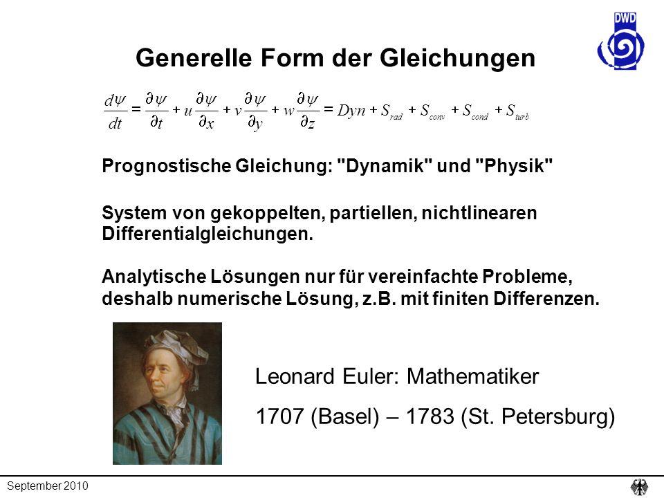 September 2010 Leonard Euler: Mathematiker 1707 (Basel) – 1783 (St. Petersburg) Generelle Form der Gleichungen turbcondconvrad SSSSDyn z w y v x u tdt