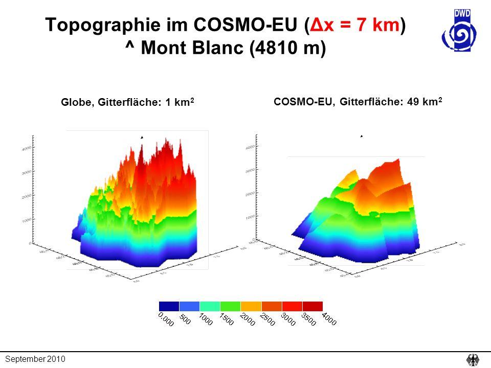 September 2010 Topographie im COSMO-EU (Δx = 7 km) ^ Mont Blanc (4810 m) COSMO-EU, Gitterfläche: 49 km 2 Globe, Gitterfläche: 1 km 2