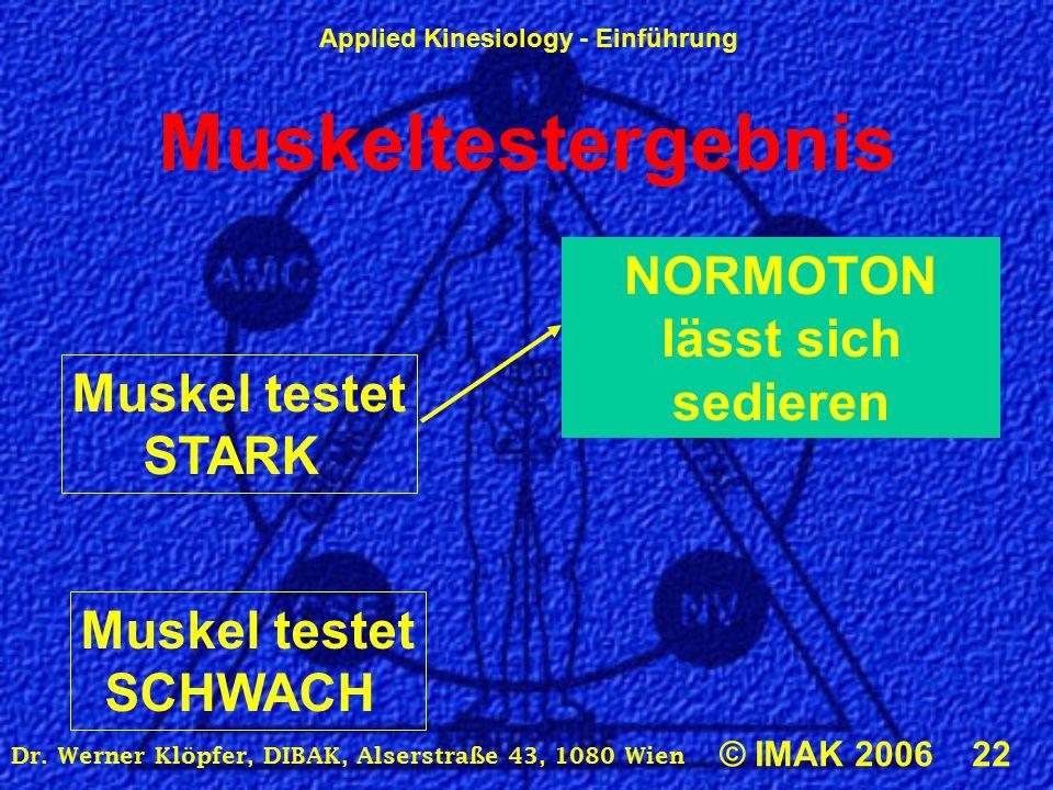 Applied Kinesiology - Einführung © IMAK 2006 22 Dr. Werner Klöpfer, DIBAK, Alserstraße 43, 1080 Wien Muskeltestergebnis Muskel testet STARK NORMOTON l
