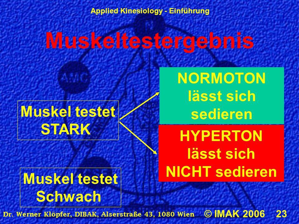 Applied Kinesiology - Einführung © IMAK 2006 23 Dr. Werner Klöpfer, DIBAK, Alserstraße 43, 1080 Wien Muskeltestergebnis Muskel testet STARK HYPERTON l