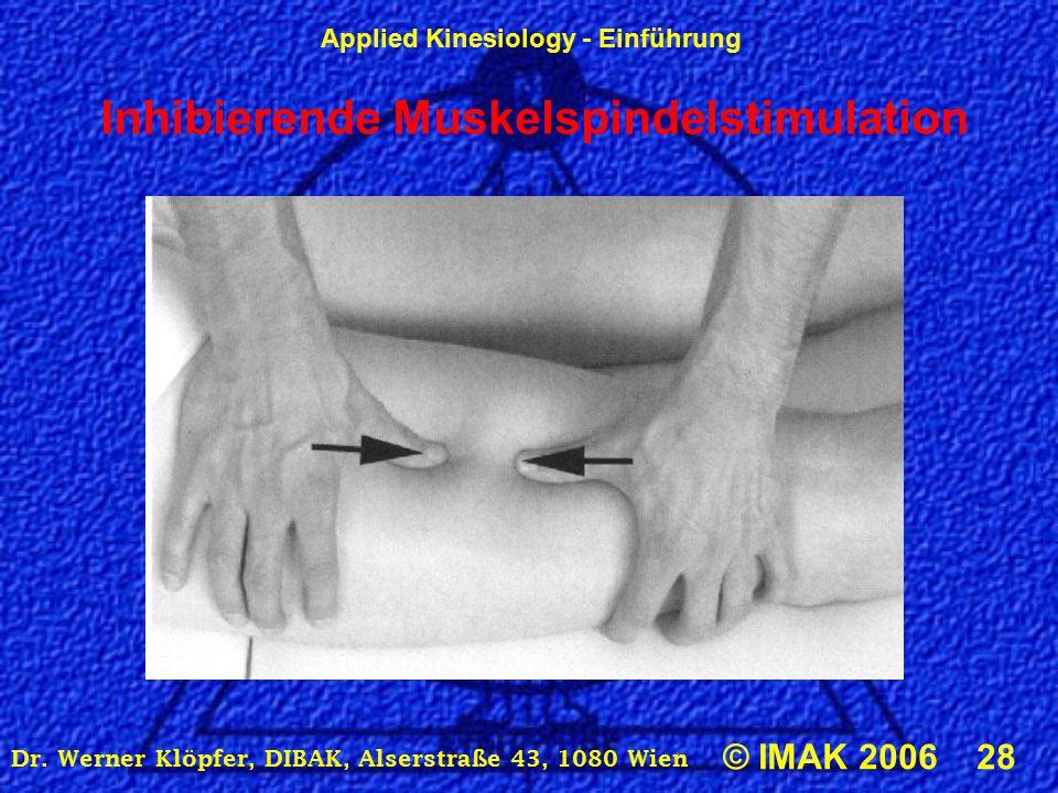 Applied Kinesiology - Einführung © IMAK 2006 28 Dr. Werner Klöpfer, DIBAK, Alserstraße 43, 1080 Wien Inhibierende Muskelspindelstimulation