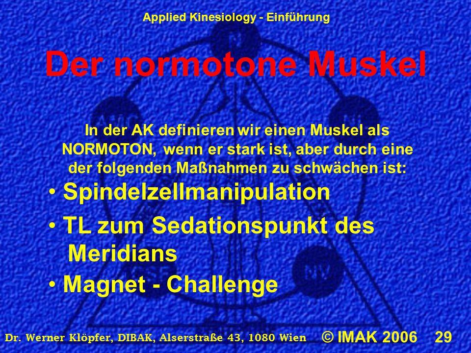 Applied Kinesiology - Einführung © IMAK 2006 29 Dr. Werner Klöpfer, DIBAK, Alserstraße 43, 1080 Wien Der normotone Muskel In der AK definieren wir ein