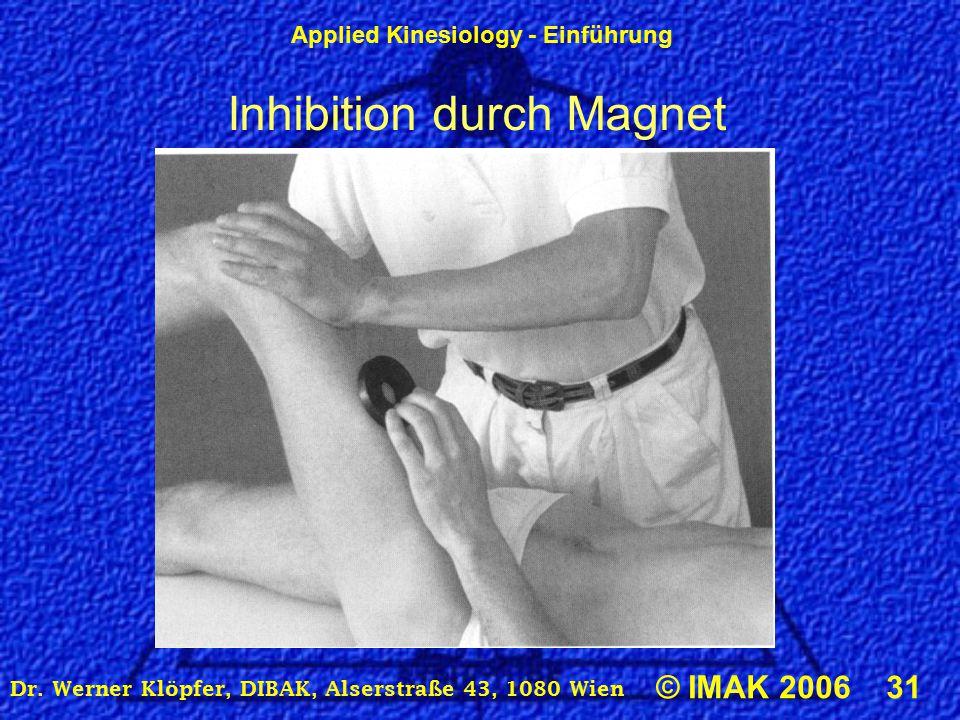 Applied Kinesiology - Einführung © IMAK 2006 31 Dr.